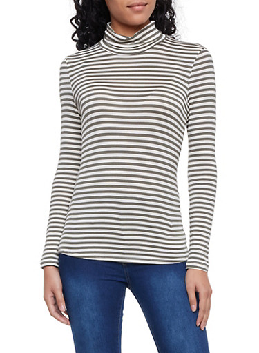 Striped Turtleneck Top with Long Sleeves,OLIVE,large