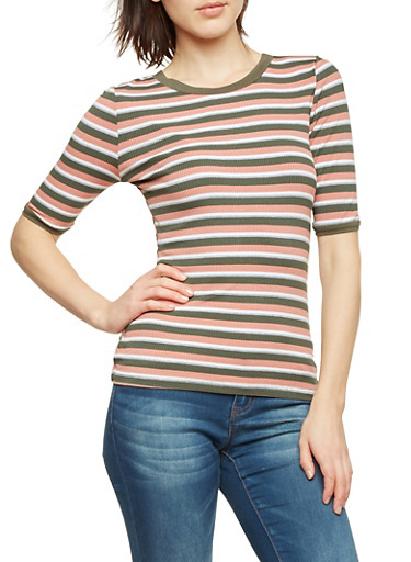 Striped Top with Crew Neck,OLIVE,large