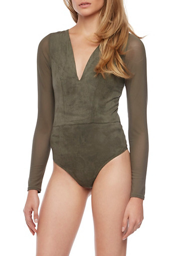 Faux Suede Bodysuit with Mesh Sleeves and V Neck,OLIVE,large