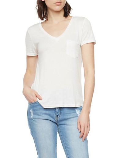 Short Sleeve V Neck Tee,WHITE,large