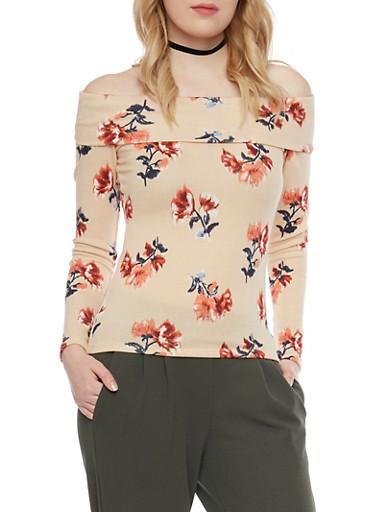Long Sleeve Floral Off The Shoulder Top,IVORY,large