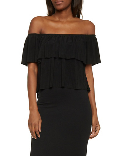 Textuered Ruffled Off The Shoulder Crop Top,BLACK,large