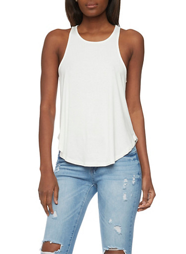 A Line Racerback Tank Top,IVORY,large