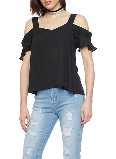 Cold Shoulder Top with Flutter Sleeves,BLACK,large