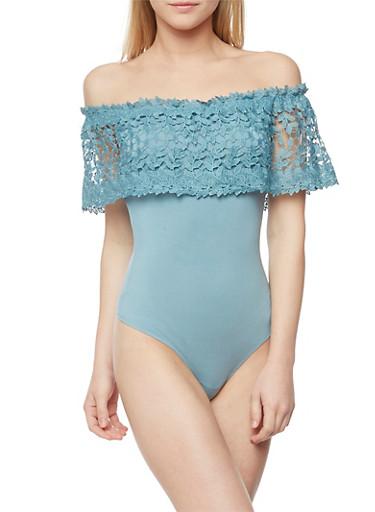 Off the Shoulder Bodysuit with Crochet Overlay,BLUE  LT,large