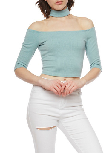 Off the Shoulder Crop Top with Choker,MINT,large