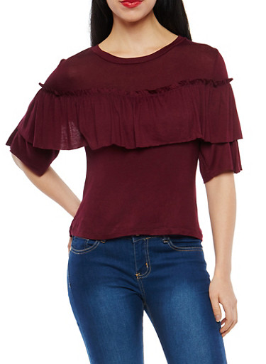Soft Knit Ruffle Trim Top,BURGUNDY,large