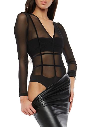 Mesh Velvet Detail Bodysuit,BLACK,large