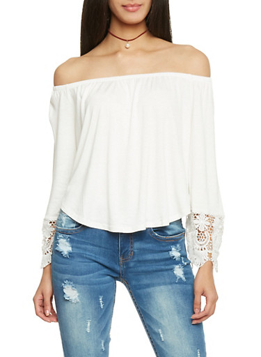 Off The Shoulder Long Sleeve Top with Crochet Sleeve Detail,OFF WHITE,large