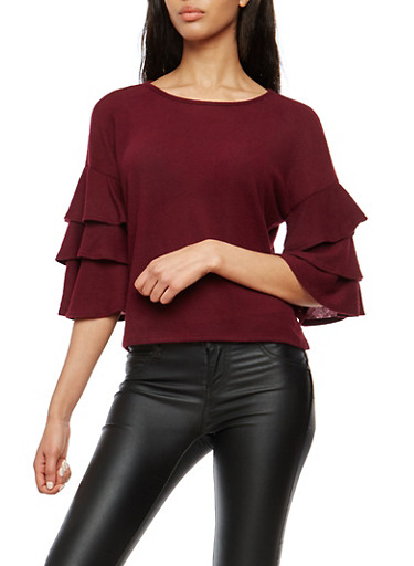 Soft Knit Tiered Sleeve Sweater,BURGUNDY,large