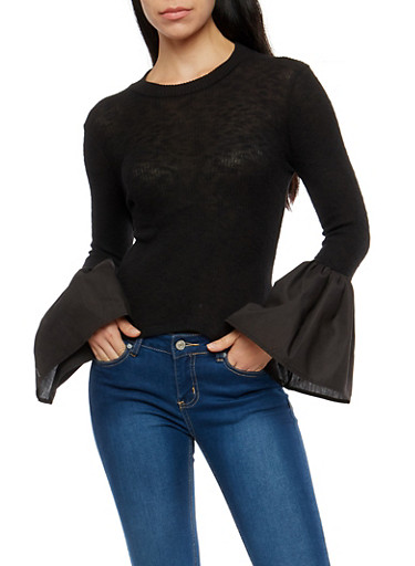 Rib Knit Bell Sleeve Sweater,BLACK,large