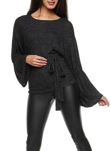 Soft Knit Long Sleeve Tie Front Sweater,BLACK,large