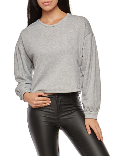 Oversized Bubble Sleeve Sweatshirt,HEATHER,large