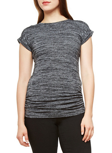 Marled Tee With Cuffed Sleeves and Light Bottom Ruching,BLACK,large