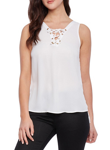 Lace Up Tank Top,OFF WHITE,large