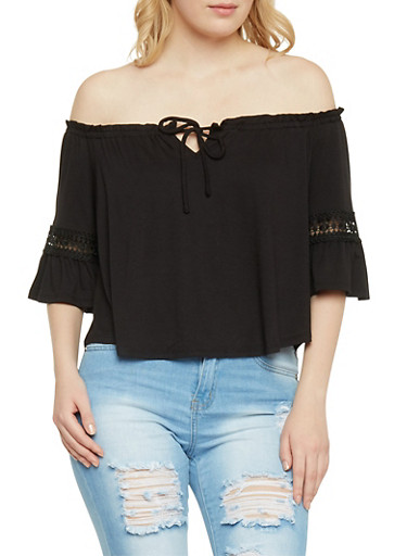 Off The Shoulder Crop Top with Crochet Inserts,BLACK,large