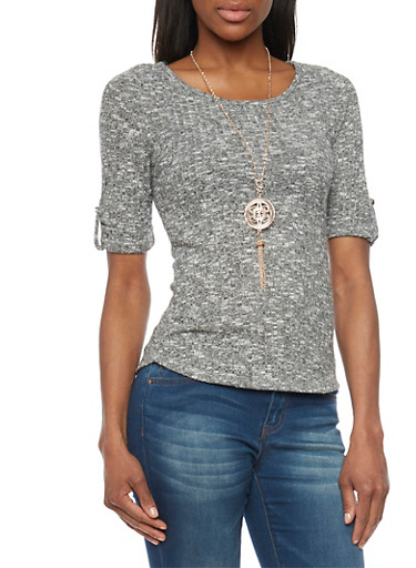 Ribbed Short Sleeve Hatchi Top with Necklace,HEATHER,large