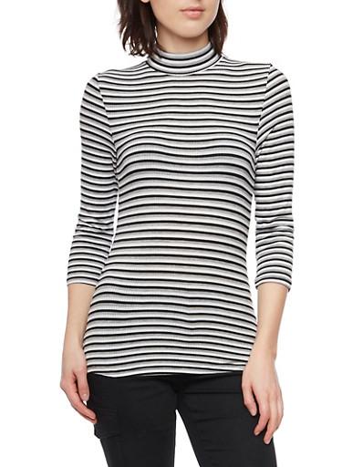 Striped Mock Neck Top,BLACK,large