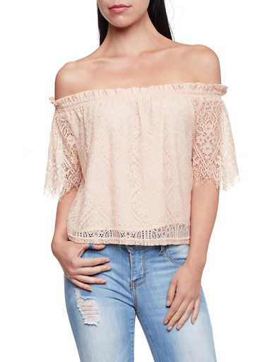 Off The Shoulder Top in Crochet,OYSTER,large