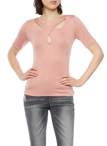 Cross Neck Top,MAUVE,large