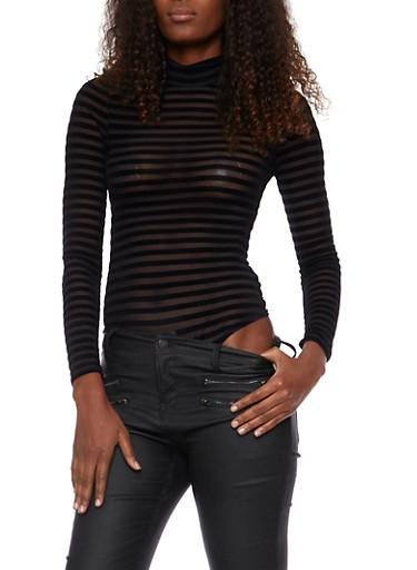Mockneck Bodysuit in Flocked Shadow Stripe,BLACK,large
