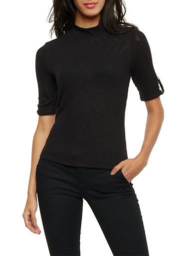 Rib Knit Mock Neck Top with Fixed Cuff Sleeves,BLACK,large