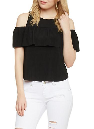 Ruffle Cold Shoulder Top,BLACK,large