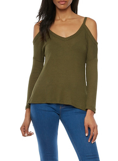 Cold Shoulder Top in Waffle Knit,OLIVE,large