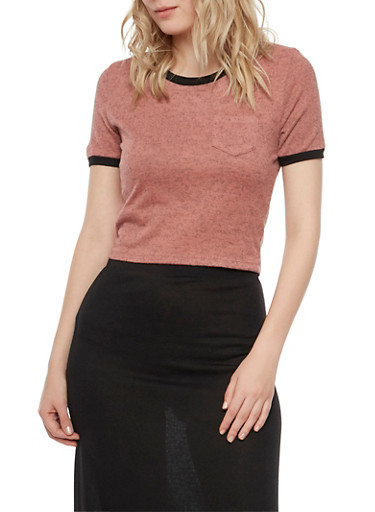 Crop Ringer Tee in Marled Knit,MAUVE,large
