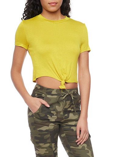 Short Sleeve Crop Top with Tie Front,CITRUS,large