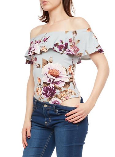 Floral Soft Knit Off the Shoulder Bodysuit,BLUE,large