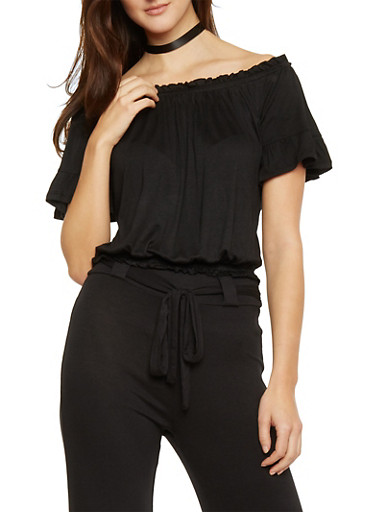 Off The Shoulder Soft Knit Top,BLACK,large