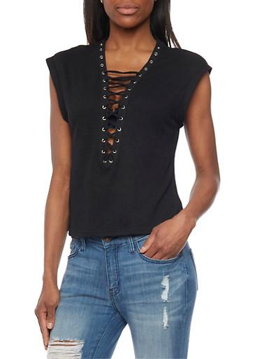 Lace Up Grommet Neck Top,BLACK,large