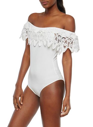 Crochet Off the Shoulder Bodysuit,WHITE,large