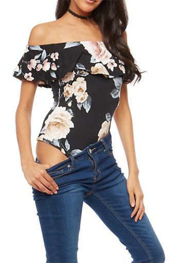 Soft Knit Floral Off the Shoulder Bodysuit,BLACK,large