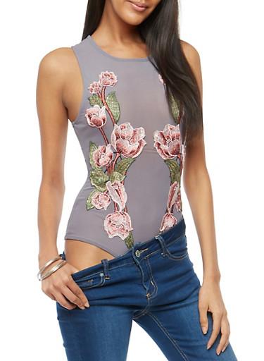 Floral Applique Mesh Bodysuit,GREY,large