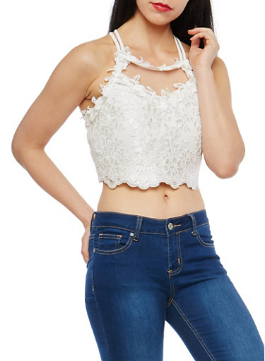 Mesh Crochet Crop Top,WHITE,large