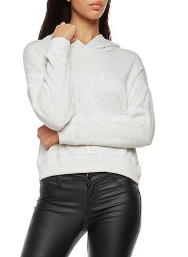 Fleece Lined Hooded Sweatshirt,OATMEAL,large