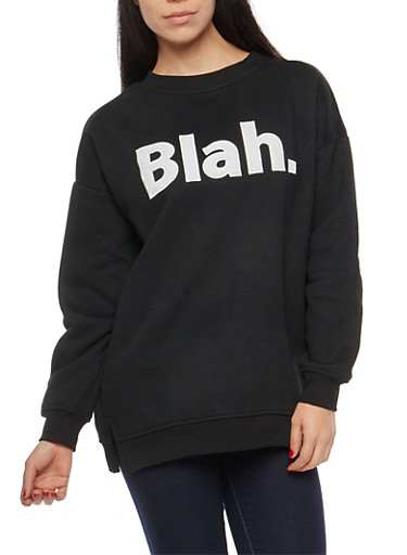 Blah Graphic Fleece Lined Sweatshirt,BLACK/WHITE,large