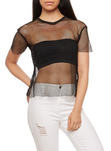 Fishnet T Shirt,BLACK,large