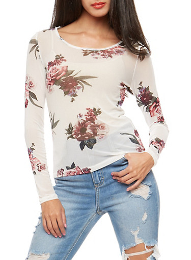 Floral Mesh Long Sleeve Top,IVORY,large
