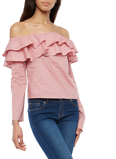Tiered Off the Shoulder Top,MAUVE,large