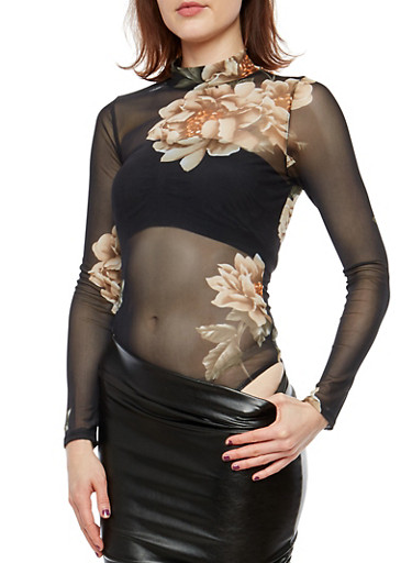 Floral Mesh Thong Bodysuit,BLACK,large