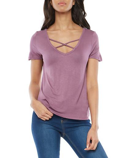 Caged Short Sleeve Basic T Shirt,LAVENDER,large