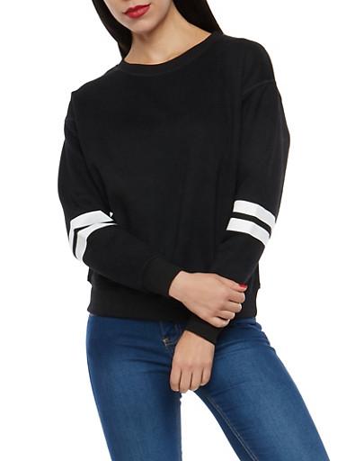 Fleece Lined Varsity Stripe Sweatshirt,BLACK,large