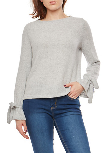 Soft Knit Faux Tie Sleeve Sweater,HEATHER,large