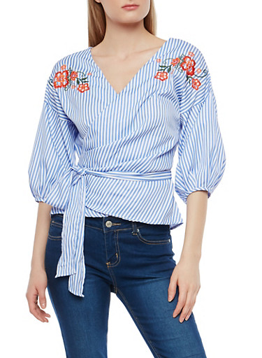 Embroidered Striped Wrap Top,LIGHT BLUE,large