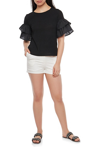Tiered Sleeve Top,BLACK,large