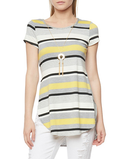Short Sleeve Striped High Low Tunic Top with Necklace,YELLOW,large