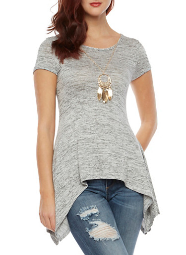 Asymmetrical Knit Top with Necklace,GRAY,large